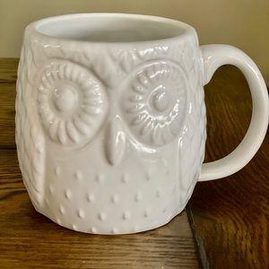 WEST ELM 3D WHITE PORCELAIN OWL MUG